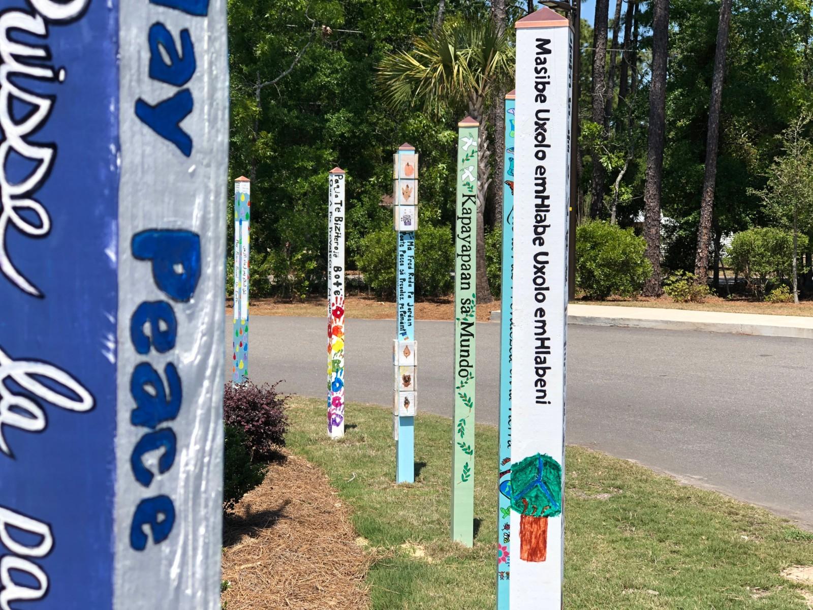 Peace Poles Outside School