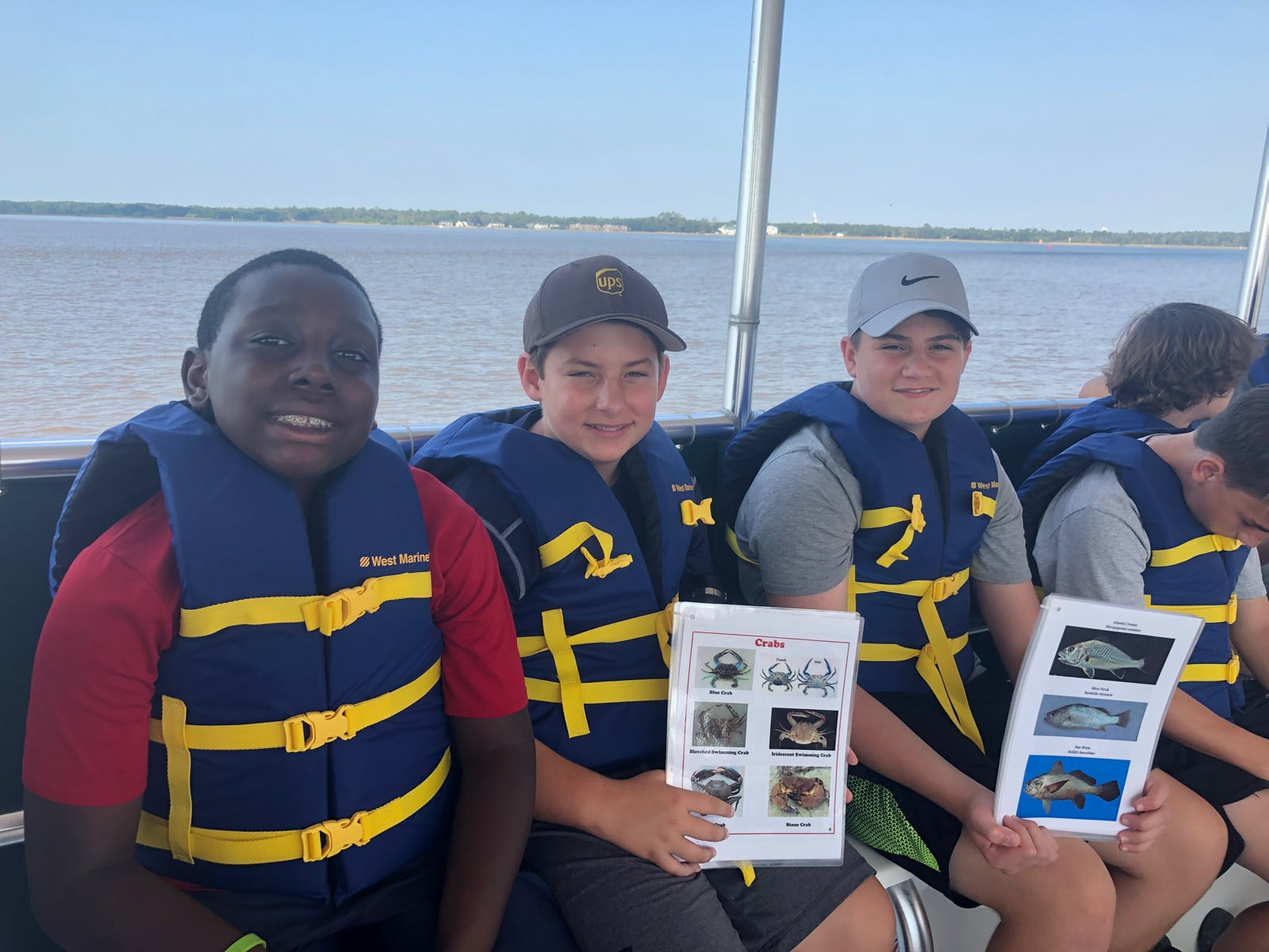 Middle school boys exploring Winyah Bay by boat